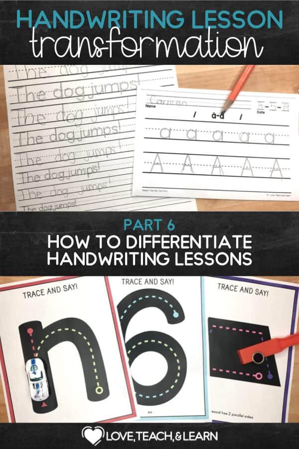 differentiate handwriting : HANDWRITING LESSON TRANSFORMATION
