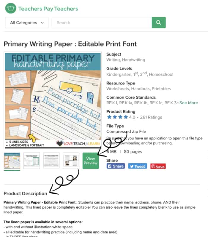 Save on Teachers Pay Teachers by finding helpful resources that show what you are going to pay for. Use the thumbnails, preview, and product description to see if it's what you really need.