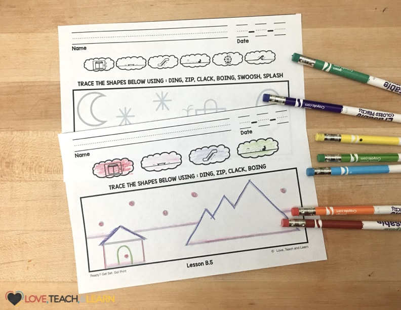 This print handwriting curriculum teaches handwriting by mastering nine letter strokes with a drawing activity. Use handwriting stroke flash cards to practice letter strokes.